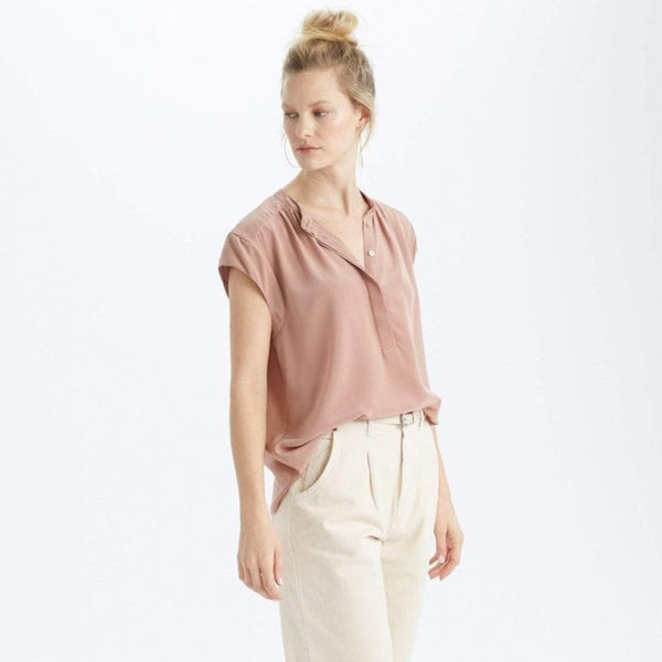 The Reset Tops Clay / XS Silk Cap Sleeve Tunic