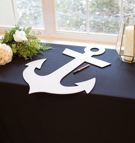 Wedding Guestbook Wooden Anchor