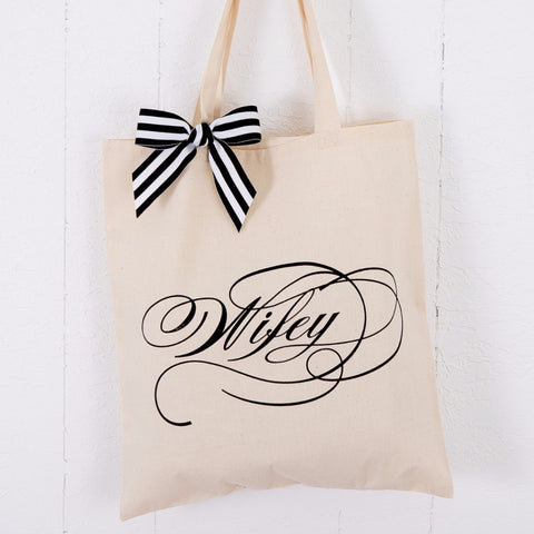 Romantic Wifey Wedding Tote Bag