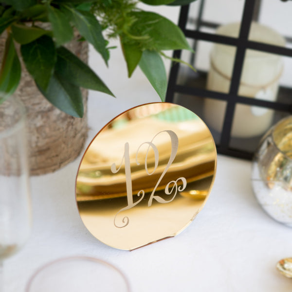 Engraved Table Number Circle Signs - Wedding and Gifts