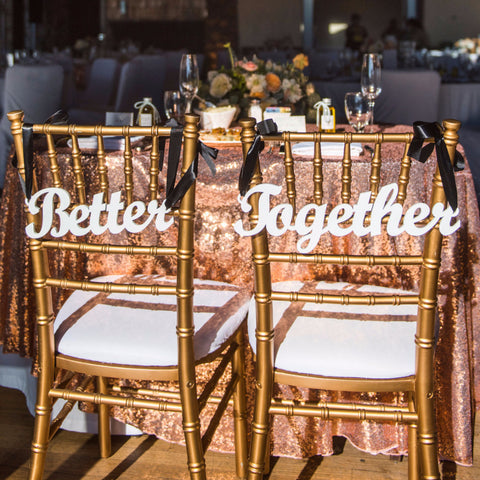 better together wedding chair signs bride groom