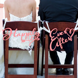"Fairytale Wedding Chair Signs ""Happily Ever After"" - Wedding and Gifts"