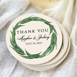 Greenery Wedding Coasters