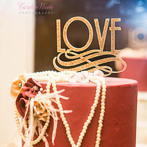 Art Deco Love Cake Topper