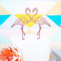 Double Flamingo Cake Topper Geometric