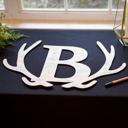Wedding Guestbook Wooden Letter in Antlers
