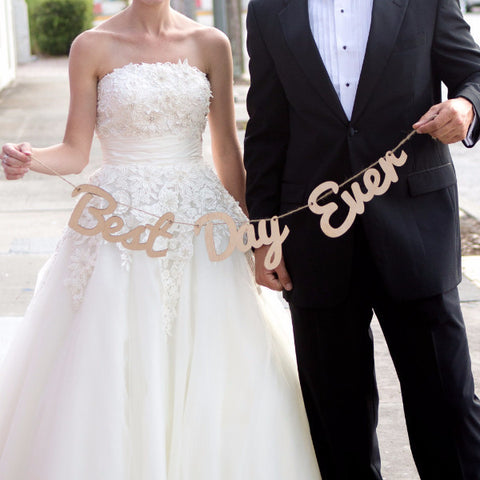 Hanging Best Day Ever Wooden Banner - Wedding and Gifts