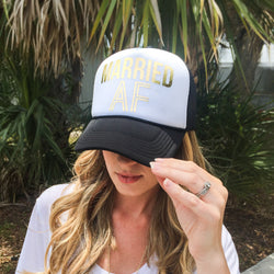 """Married AF"" Hat for Bride"