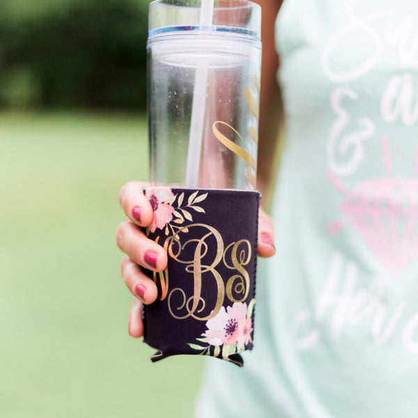Floral Monogram Drink Insulator - Wedding and Gifts