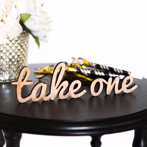"Wooden ""take one"" Word Cutout for Favors"