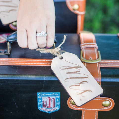 Mr & Mrs Engraved Wooden Luggage Tags