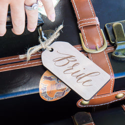 Bride & Groom Engraved Wooden Luggage Tags - Wedding and Gifts