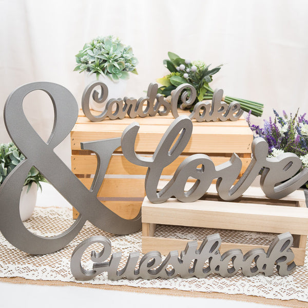 5 Piece Wedding Sign Set - Love, Guestbook, Cards, Cake, Ampersand - Wedding and Gifts
