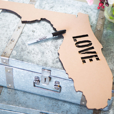 wooden state sign, rustic wedding, destination wedding