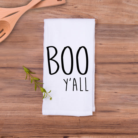 Tea Towel Boo Y'all Halloween Design