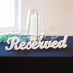 reserved sign for wedding table decorations