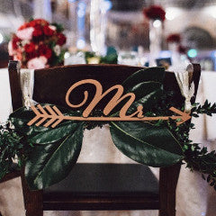 Mr and Mrs Arrow Chair Signs