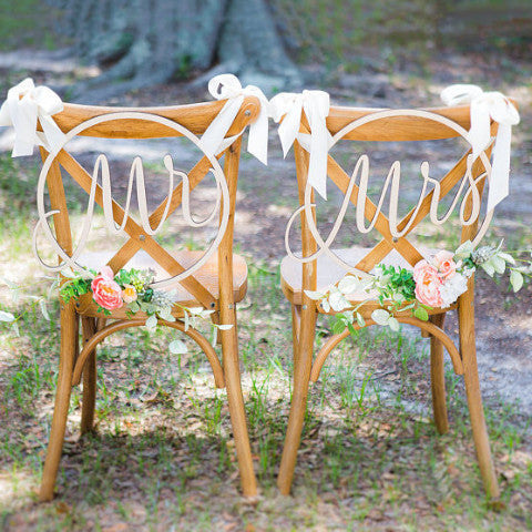 Wedding Chair Signs Hoop Style
