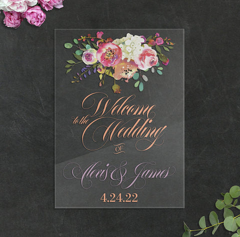Clear Acrylic Floral Wedding Sign