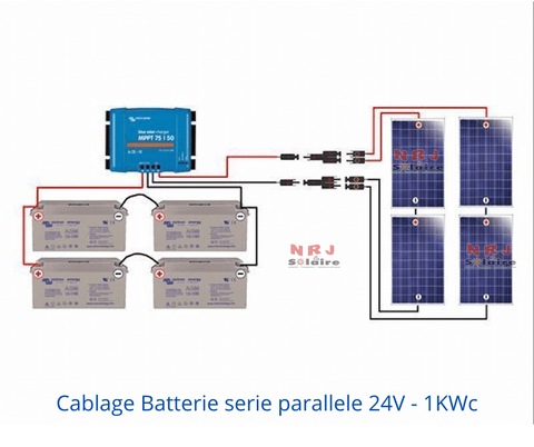 Cablage Batterie serie parallele 24V - 1KWc
