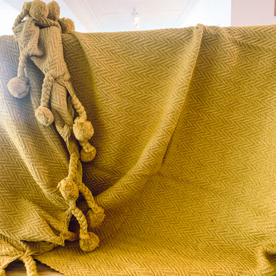Cotton Throw with Braided Pom Pom Tassels - Burnt Gold