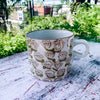 Hand Stamped Floral Mug - Brown