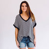 Stripe Boyfriend V-Neck Tee Black
