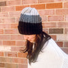 Color Block Beanie-BLACK