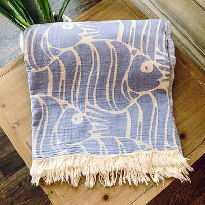 Fish Blanket - Blue