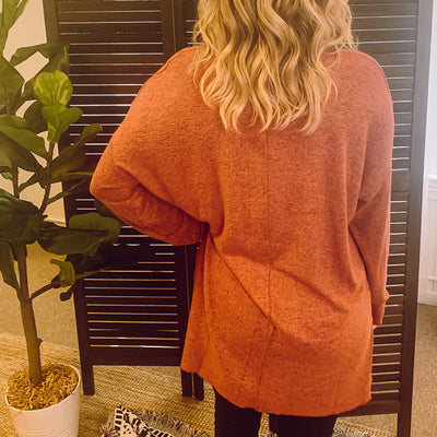Marled Sweater Knit Tunic - Mesa Red