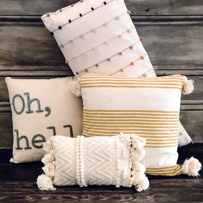 Striped Pillow with Tassels