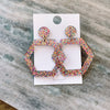 Glitter Hexagon Earrings