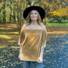 Very Velvet Off Shoulder top-GOLD