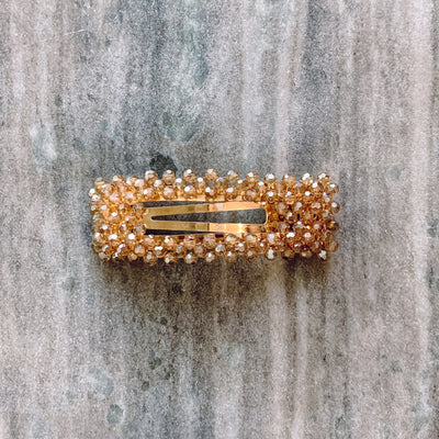 Simple Long Beaded Hair clip - CHAMPAGNE