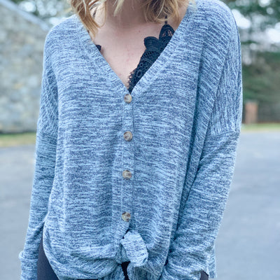 Keep Me Cozy Button Down - Blue