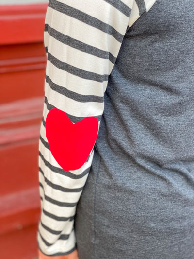 FFF Heart Elbow Patch Top