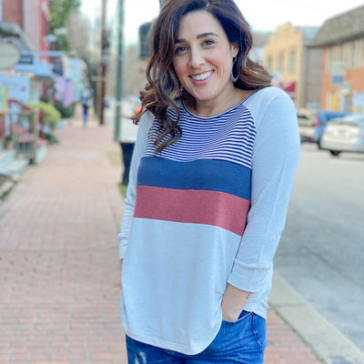 Color Block Striped Raglan