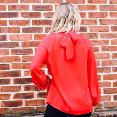 Paris Tie Back Blouse RED