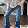 High Rise Distressed Flare