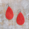 Embossed Leather Tear Drop Earrings - Tomato