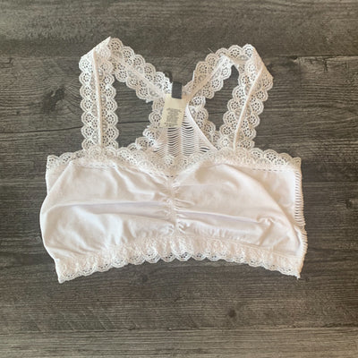 Racer Back Laser Cut Bralette - White