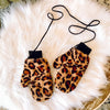 Faux Real Leopard Mittens on a String