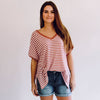 Stripe Boyfriend V-Neck Tee Old Rose