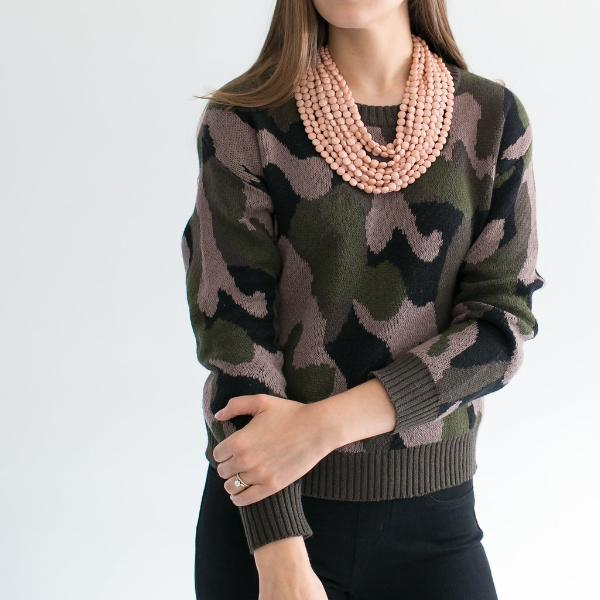 Cropped Camo Crewneck Sweater