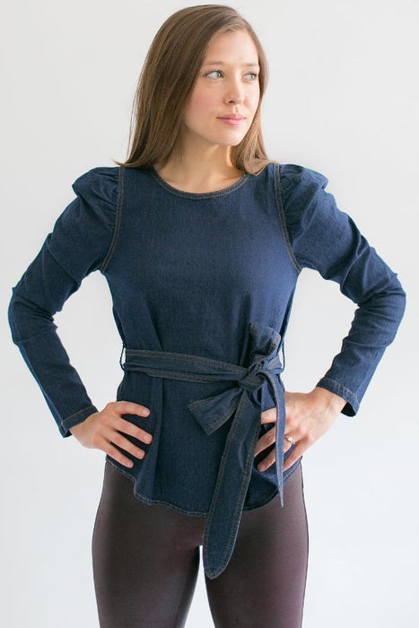 Denim Tie Waist Top