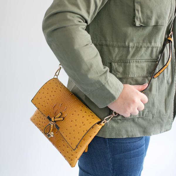 Faux Croc Crossbody Bag