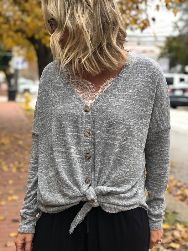 Keep Me Cozy Button Down-GREY