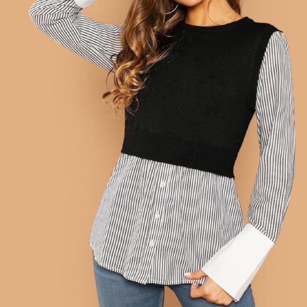 Cropped Sweater With Blouse