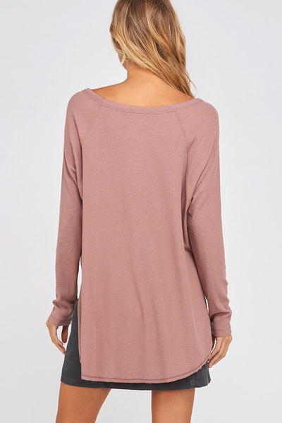 25/8 Long Sleeved Ribbed Top-MAUVE