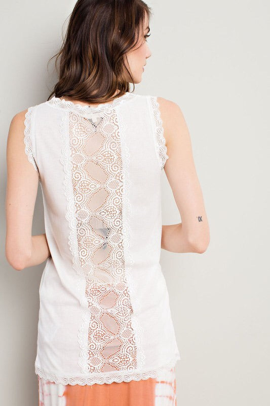 Tank with lace details